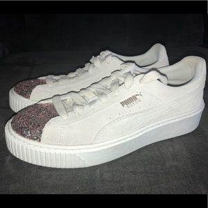 Puma Shoes   Puma White Suede Glitter